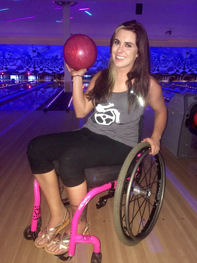 Jesi Stracham learns to bowl after becoming paralyzed.