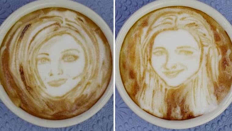 "Michael Breach makes ""Friends"" in latte foam."