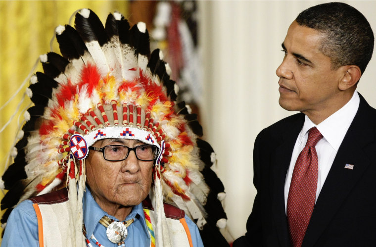 IMAGE: Barack Obama and Joseph Medicine Crow