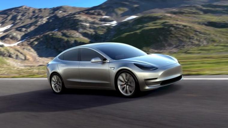 Handout of Tesla Motors' mass-market Model 3 electric cars