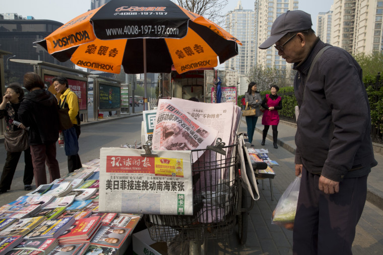 Image: Copies of the Global Times in Beijing on Tuesday