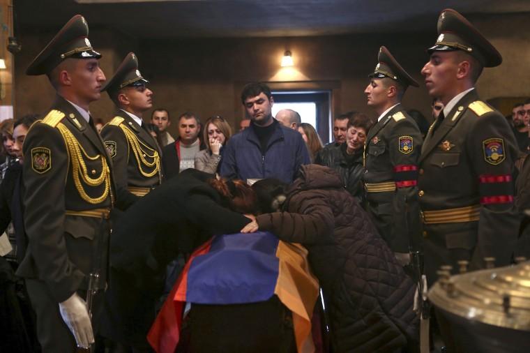 Image: People attend funeral of Armenian serviceman in Yerevan