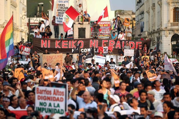 Image: Demonstrators protest against presidential candidacy of Keiko Fujimori
