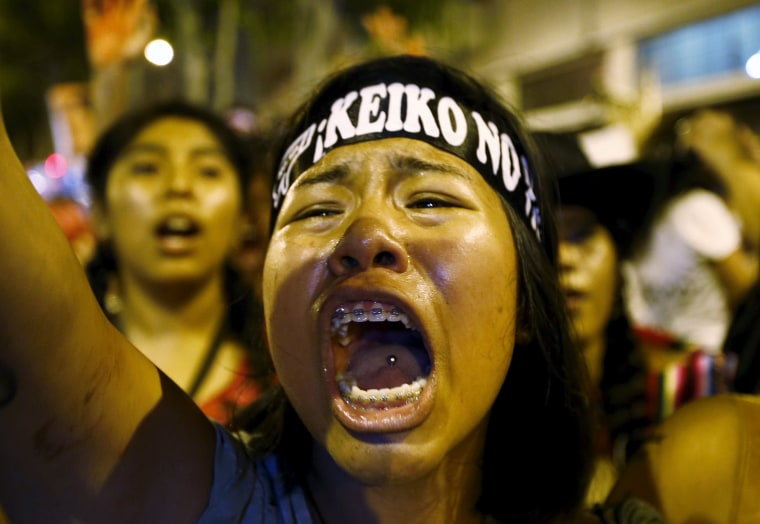 Image: Protesters march against Peruvian presidential candidate Keiko Fujimori in downtown Lima