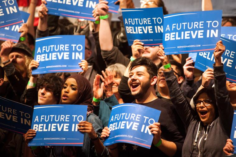Image: Democratic Presidential Candidate Bernie Sanders Holds Rally In Laramie, Wyoming