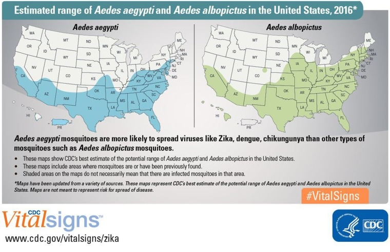Image: Estimated range of Aedes aegypti and Aedes albopictus in the United States, 2016