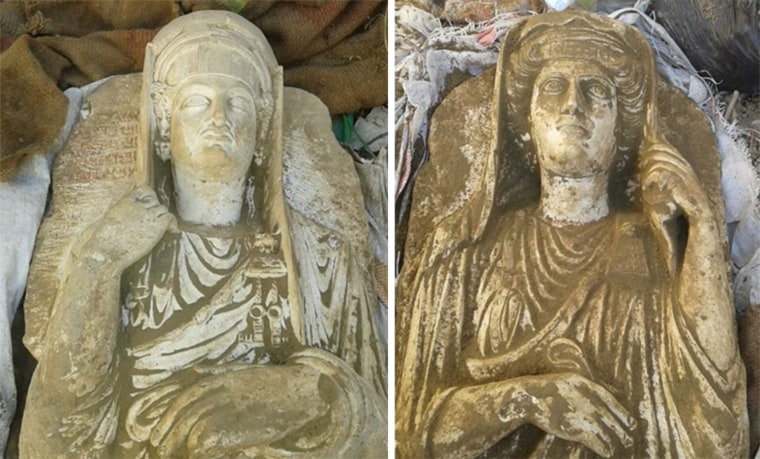 Never–before published images of two recently excavated Palmyrene statues about to be sold during an ISIS public antiquities auction in Raqqa.