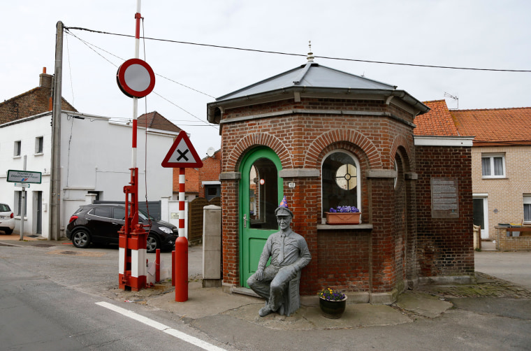 Image: A old customs post at the border between Belgium and France in Alveringem