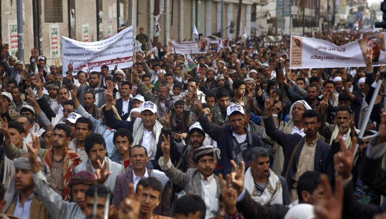 Shiite rebels, known as Houthis, protest against Saudi-led airstrikes, in Sanaa, Yemen, on March 18.