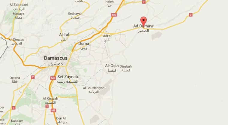 Image: A Google map, showing Dumeir to the northeast of Damascus in Syria.