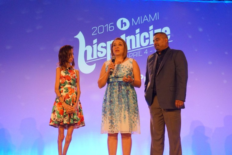 Motivational speaker Lizzie Velásquez with her parents, Rita and Guadalupe Velásquez, at Hispanicize2016 in Miami on April 7, 2016.