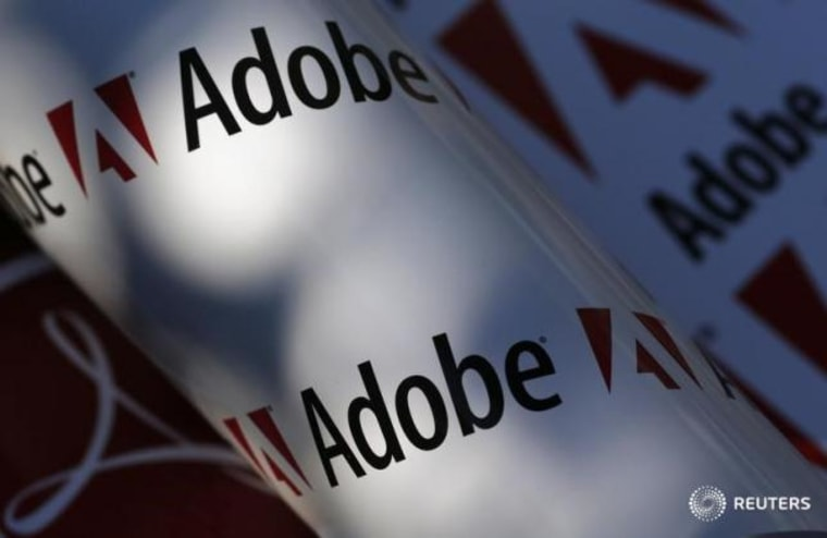 Picture illustration shows Adobe company logos, in Vienna