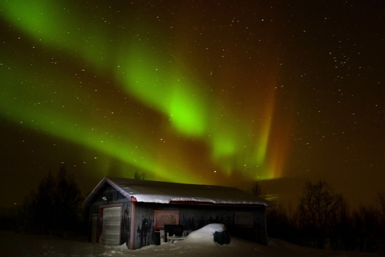The Northern Lights seen above the Abisko National Park in Sweden in 2014.
