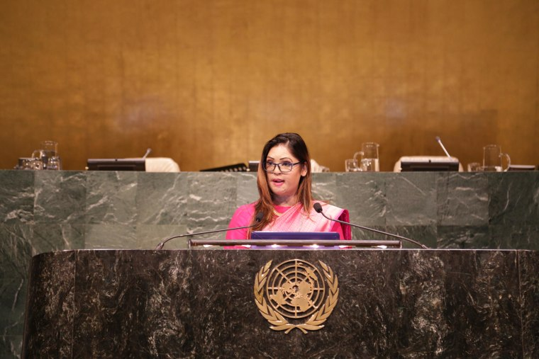 Monica Singh speaks in the General Assembly Hall at the United Nations headquarters in New York, March 16, 2016, to address gender-based violence and child marriage.