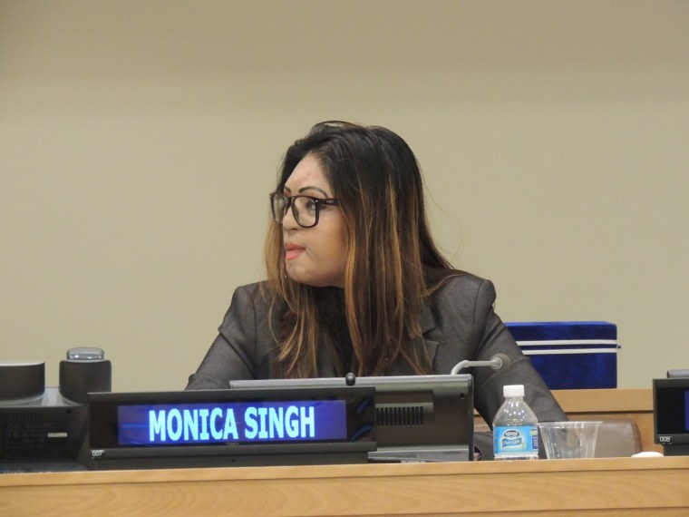 Monica Singh during a United Nations meeting March 17, 2016.