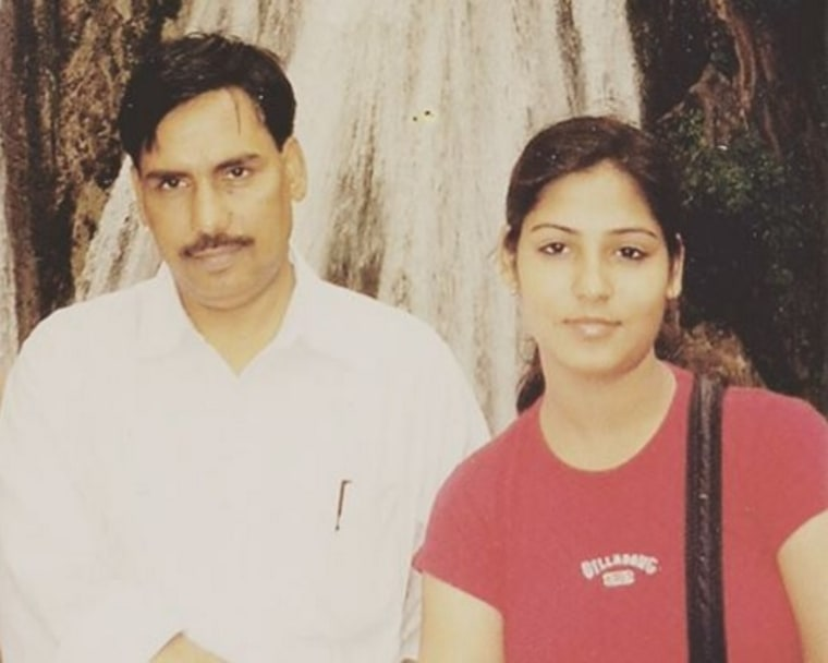 Monica Singh with her father Mahendra Singh.