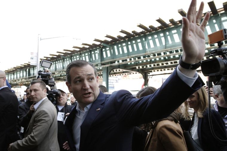 Image: U.S. Republican presidential candidate Cruz waves to a supporter as he arrives for a campaign stop at the Sabrosura restaurant in the Bronx borough of New York City