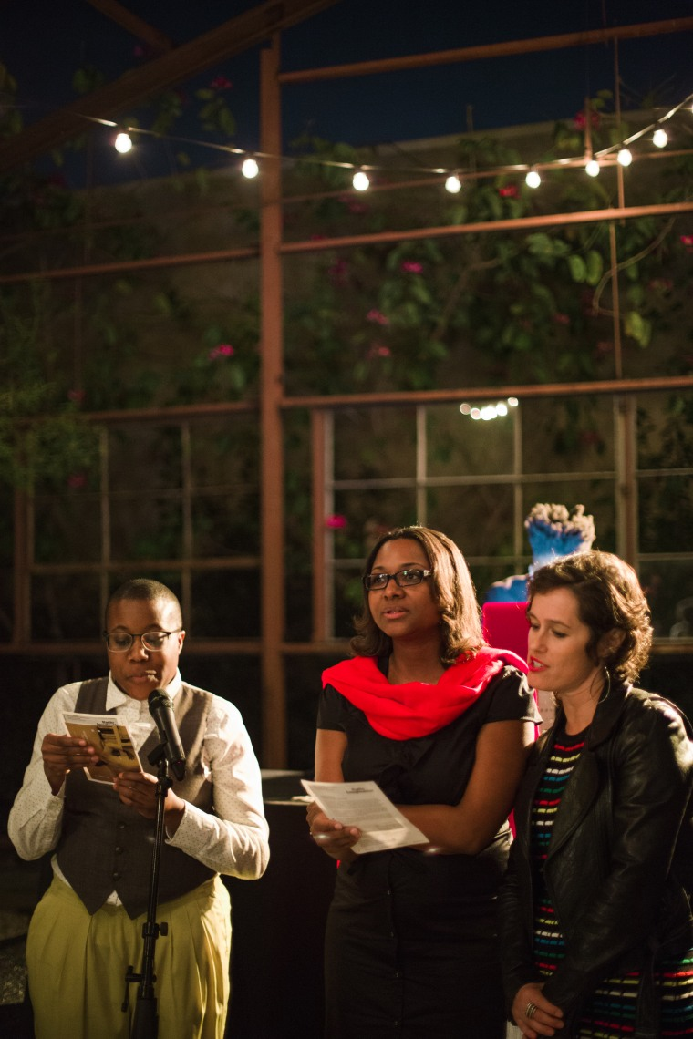 (Right to left) Julia Meltzer, director of Clockshop joins Moya Bailey and Ayana Jamieson of the Octavia E. Butler Legacy Network in a call-and-response reading of an Earthseed verse from Butler's Parable of the Sower.
