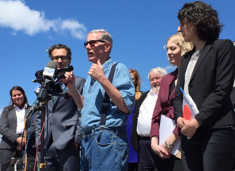 Keith Allen Harward speaks to the media after being released from the Nottoway Correctional Center.