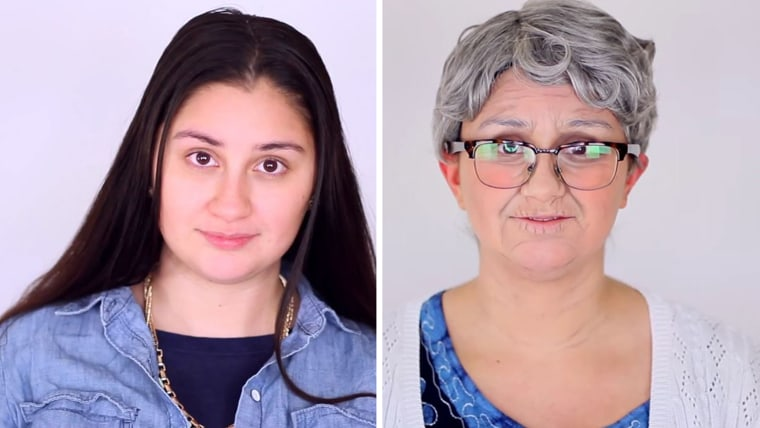 A makeup artist who transformed three couples into older versions of themselves, using wigs and makeup