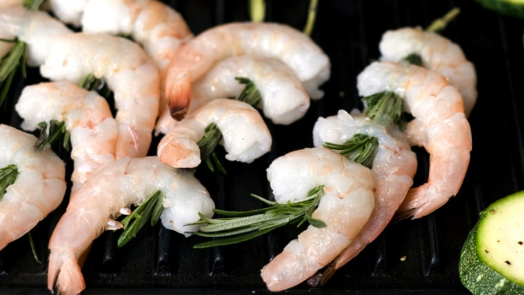Shrimp skewered on rosemary