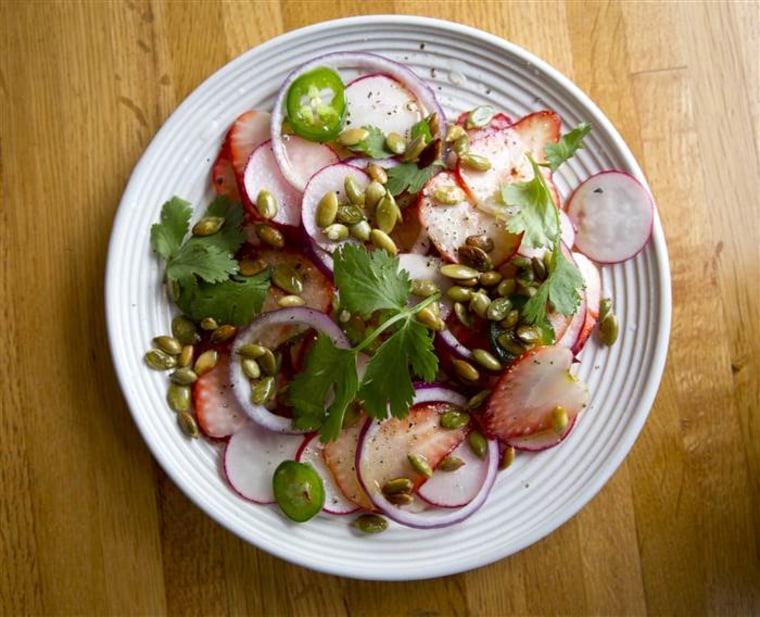 Strawberry, radish and jalapeno spring salad
