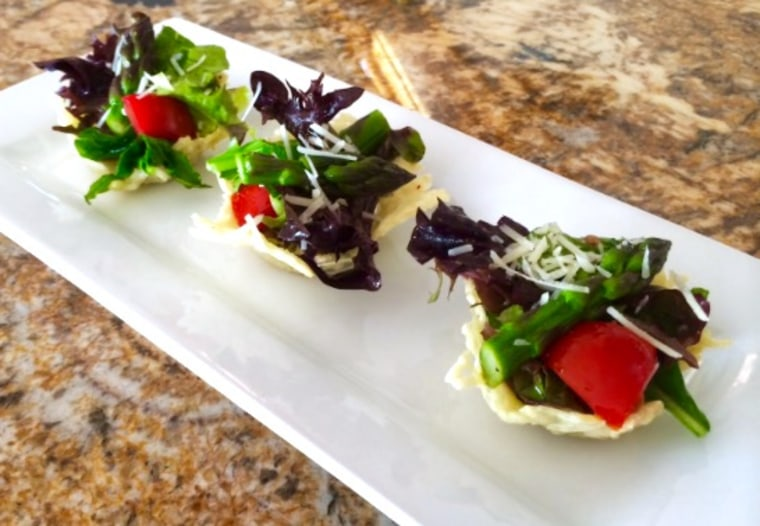 Asparagus spring salad in Parmesan cheese cups by Food Club member Gina Ferwerda