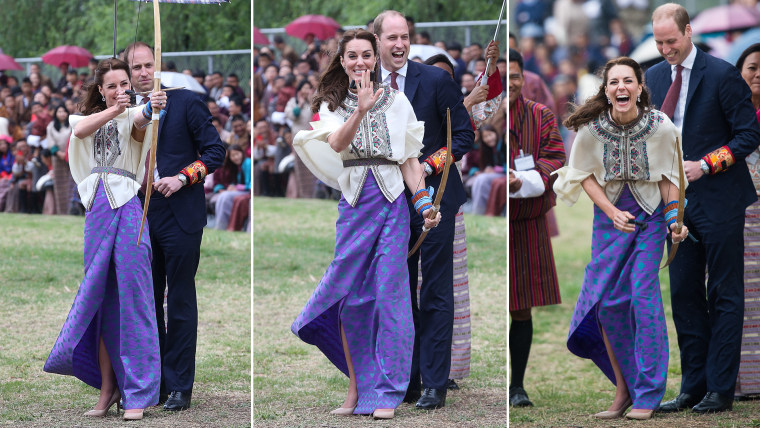 Duchess Kate trying archery in Bhutan