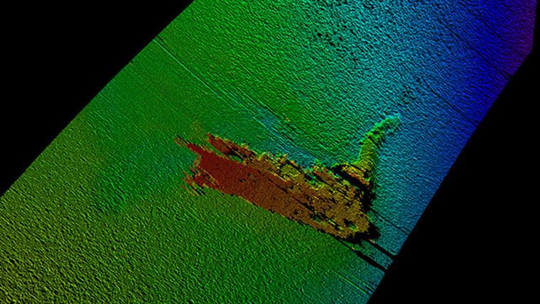Sonar image of Loch Ness Monster prop