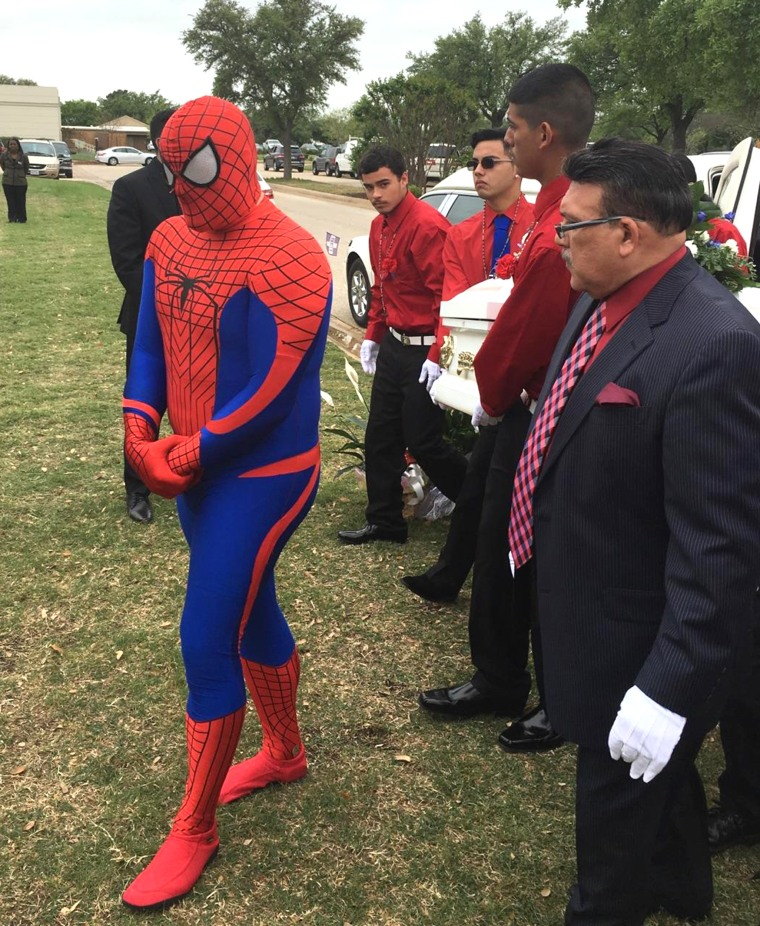 Officer is superhero at boy's funeral