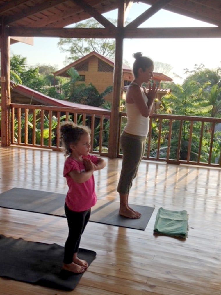Pilar Salazar and her daughter Maya doing yoga in Costa Rica