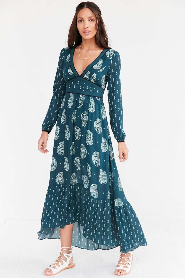 Ecote Prairie Mixed Print Long-Sleeve Maxi Dress