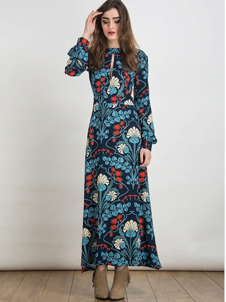 Multicolor Floral Plunge Cut out Long Sleeve Maxi Dress by Choies