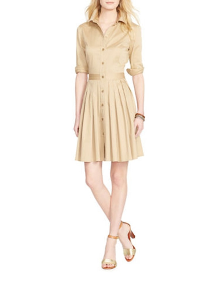 Lauren Ralph Lauren Pleated Sateen Shirtdress