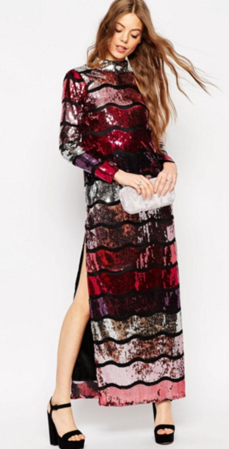 ASOS Long Sleeve Sequin Strip Maxi Dress