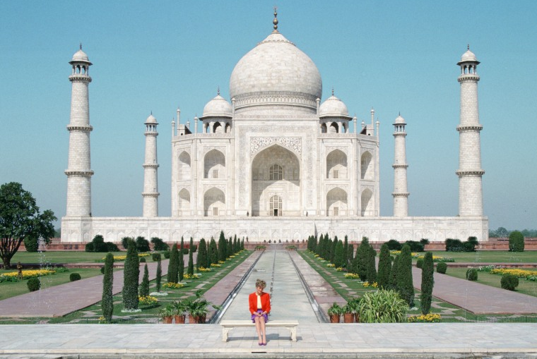 Diana Princess of Wales sits in front of the Taj Mahal durin