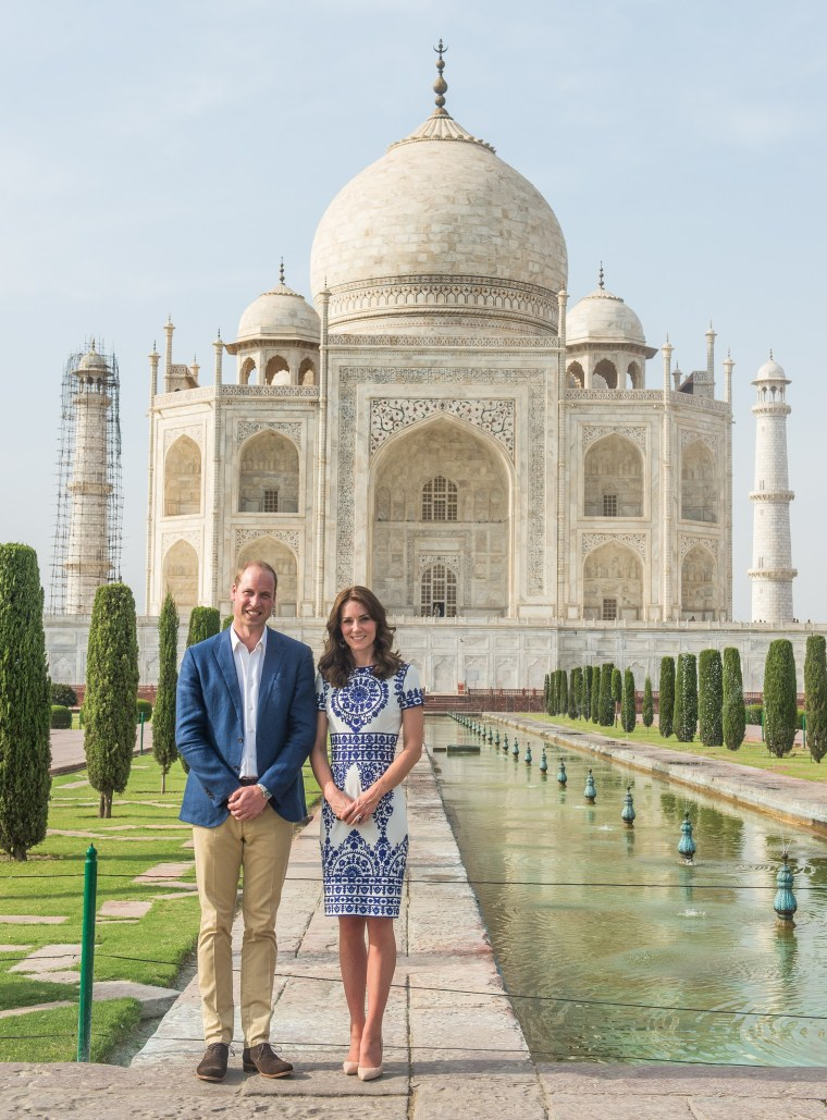 Prince William and Duchess Kate pose for photos in front of India's legendary Taj Mahal.