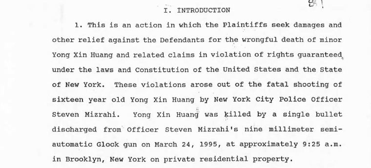 An excerpt of court documents detailing the Huang family's lawsuit against the NYPD.