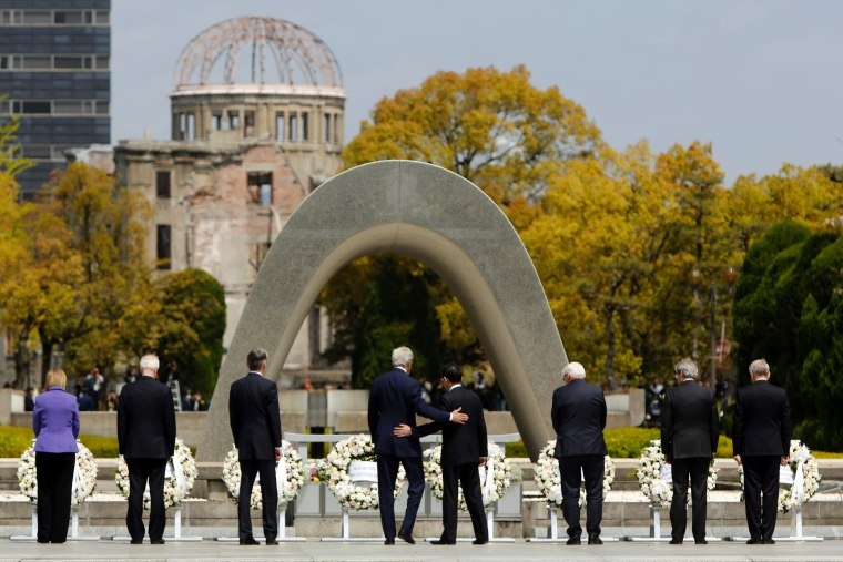 Image:  G7 foreign ministers visit the Memorial Cenotaph for the 1945 atomic bombing victims in the Peace Memorial Park