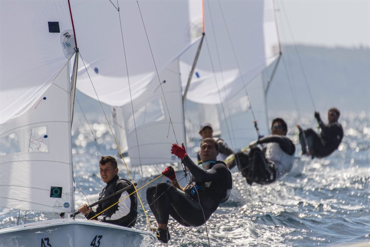 Image: Spanish sailors participate in the 2016 Open 470 European Championships