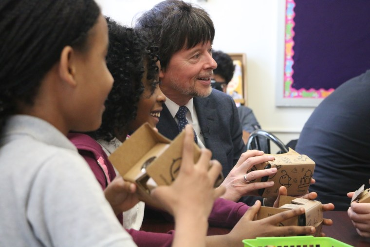 """Filmmaker Ken Burns talks with fifth grade students at P.S. 375 Jackie Robinson School in Brooklyn about their experience with the virtual reality Google Expedition entitled """"Life Is Not a Spectator Sport: The Jackie Robinson Story."""""""