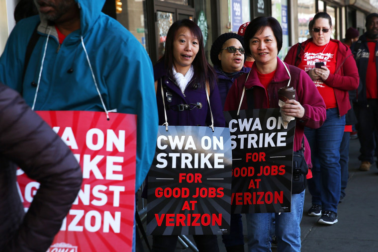 Image: Verizon Workers Walk Off Jobs And Strike