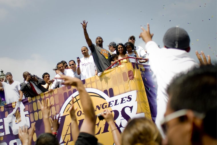 Image: Lakers championship parade outside the Staples Center
