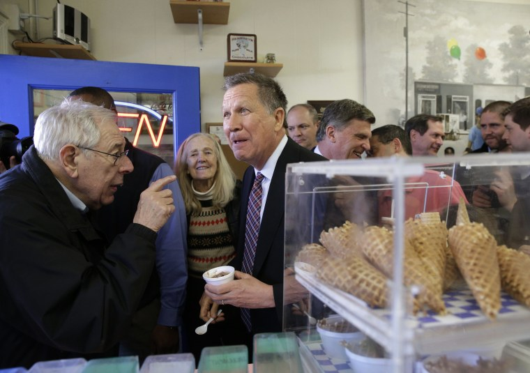 Image: Kasich visits with customers at You Scream Ice Cream
