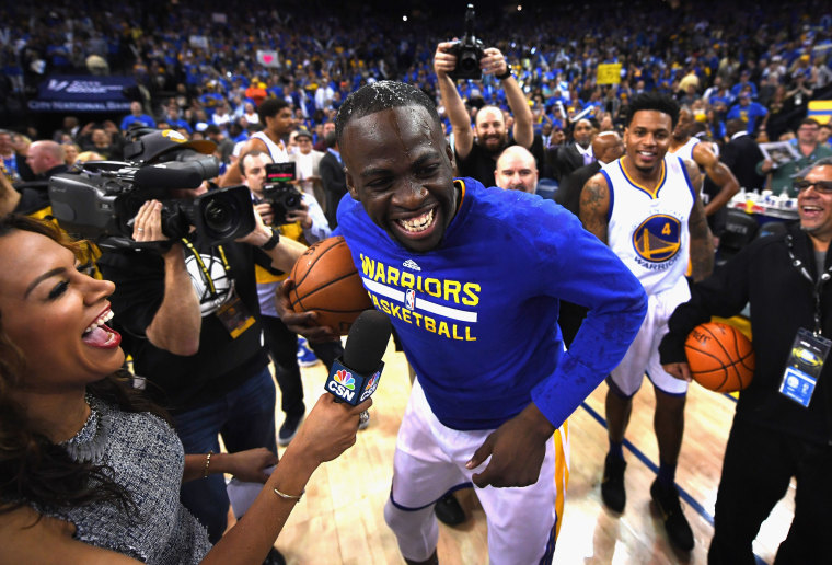 Image: Draymond Green, no.23, of the Golden State Warriors reacts after their win