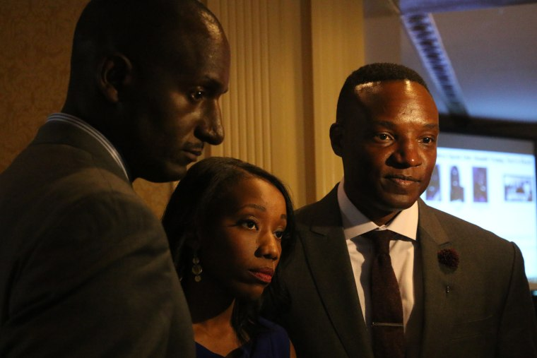 """Former contestants from """"The Apprentice,"""" including season four winner Randel Pinkett, season three participant Tara Dowdell and season one runner-up Kwame Jackson spoke on April 15, 2016 about Republican presidential candidate's Donald Trump's dangerous rhetoric."""