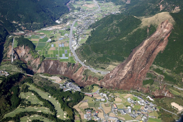 Image: A landslide is seen after the earthquake in Minamiaso