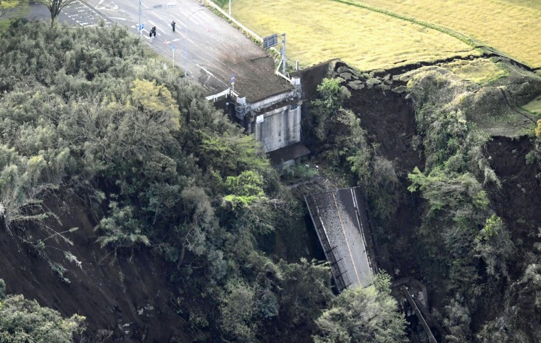 Image: Aso Bridge is seen collapsed after an earthquake