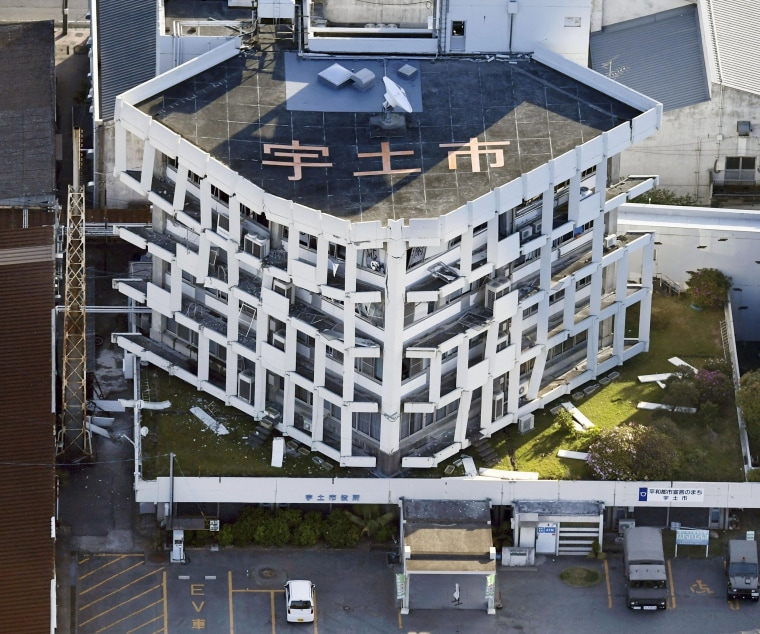 Image: A city government building is damaged in the earthquake