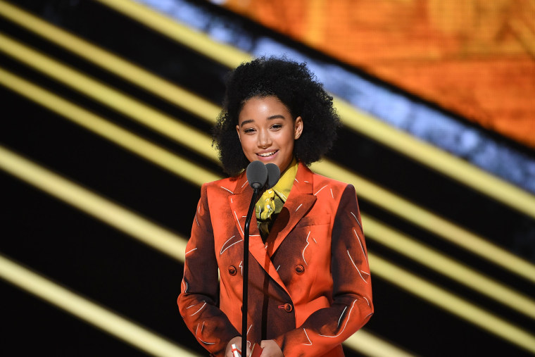 Amandla Stenberg speaks onstage at Black Girls Rock! 2016 at New Jersey Performing Arts Center on April 1, 2016 in Newark, New Jersey. (WireImage)